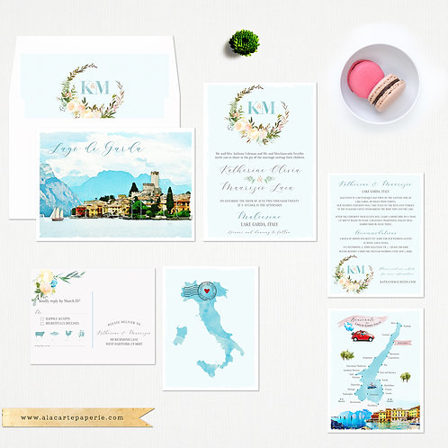 Lake Garda Italy European Destination Wedding Invitation Illustrated watercolour