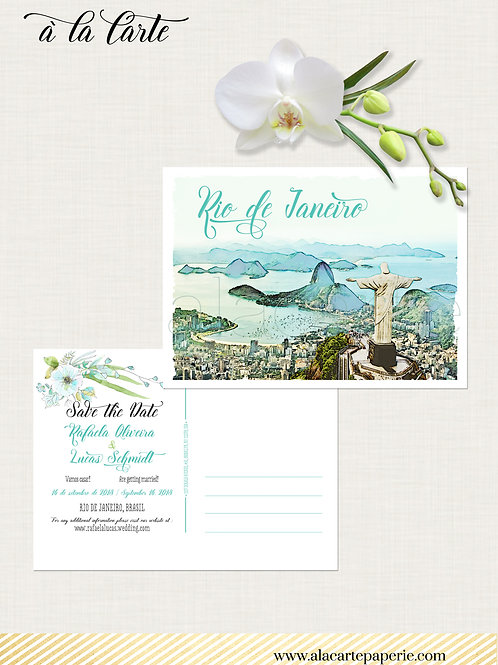 Rio de Janeiro Brazil illustrated destination wedding Save the Date postcard