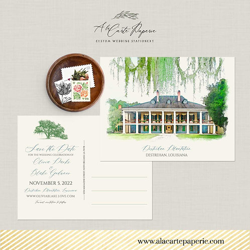 Destrehan Plantation LA Destination wedding Save the Date postcard watercolors