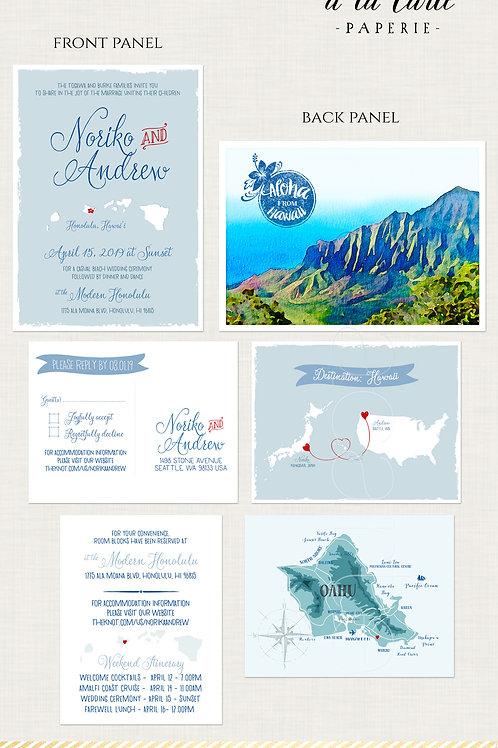 USA Japan Hawaii Illustrated Destination Wedding Invitation Hawaiian beach