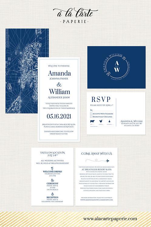 Modern destination wedding invitation set blue white vintage mapDominican Repub