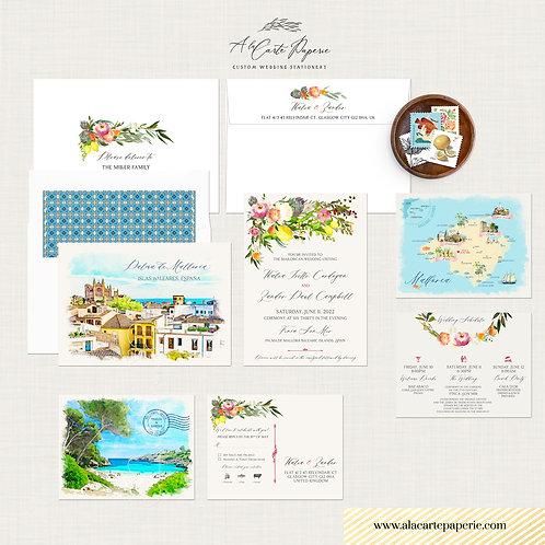 Mallorca Majorca Spain watercolor illustrated destination wedding invitation set