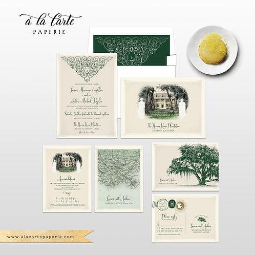 Oak Tree Spanish Moss Southeastern United States Destination Wedding Invitation