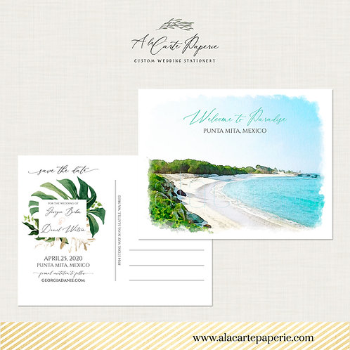 Destination wedding Punta Mita Mexico Save the Date Postcard