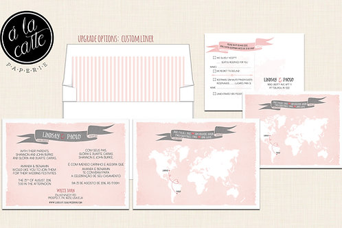 Destination wedding invitation Bilingual RSVP Two Countries, Two Hearts One Love