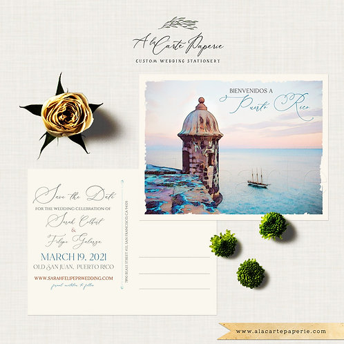 Puerto Rico Old San Juan illustrated wedding Save the Date postcard watercolor