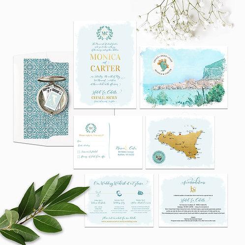 Sicily Italy Cefalu Illustrated Destination Wedding Invitation Set gold blue map