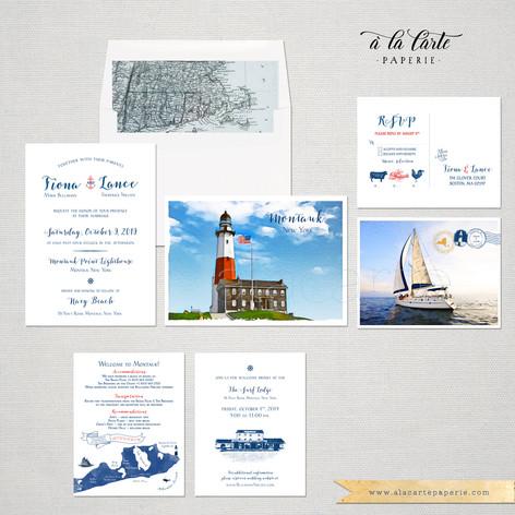 Montauk NY Coastal Wedding Invitation Set with watercolor illustrations