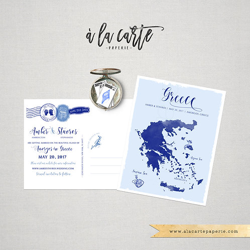 Greece Watercolor Map Greek Island Illustrated Destination Wedding Save the date