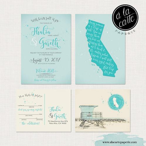 California Beach Wedding Invitation Suite Blue Newport Huntington Beach LA