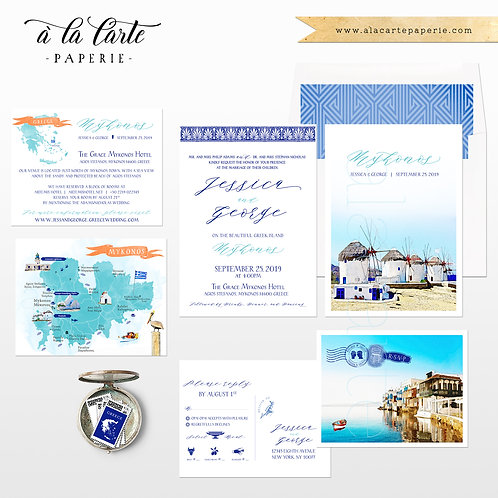Mykonos Greece Destination wedding invitation Greek Island European wedding map
