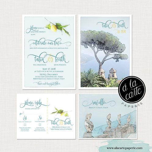 Ravello Amalfi Coast Italy Illustrated DestinationWedding Invitation Set