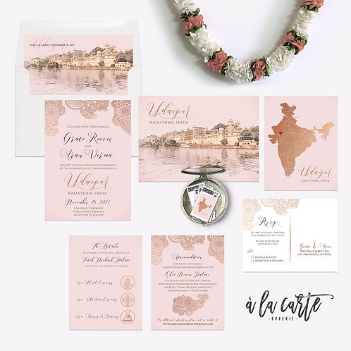 Udaipur Rajasthan Destination India Indian wedding invitation Rose Gold Copper