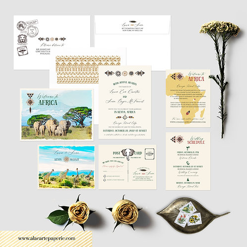 Africa Kenya Safari Watercolor Illustrated Destination Wedding Invitation