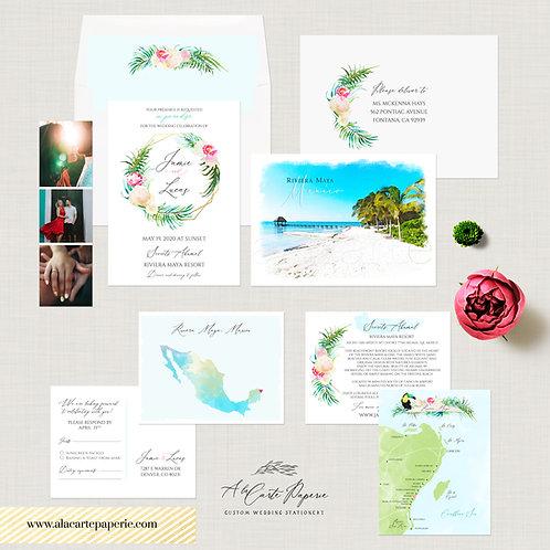 Riviera Maya Mexico watercolor illustrated destination wedding invitation set
