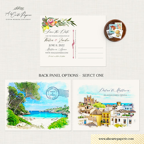 Mallorca Majorca Spain Save the date watercolor illustrated destination wedding
