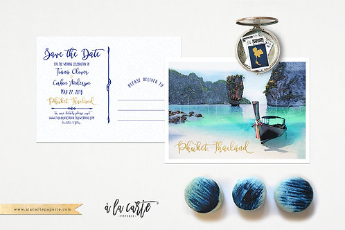 Thailand Phuket Save the Date postcard blue gold illustrated Tuscan hillsi