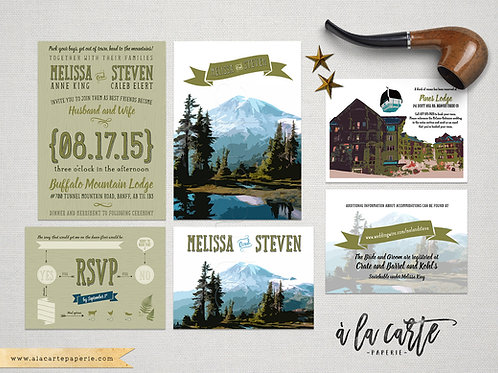 Rustic mountain illustrated destination wedding invitation Colorado Montana OR