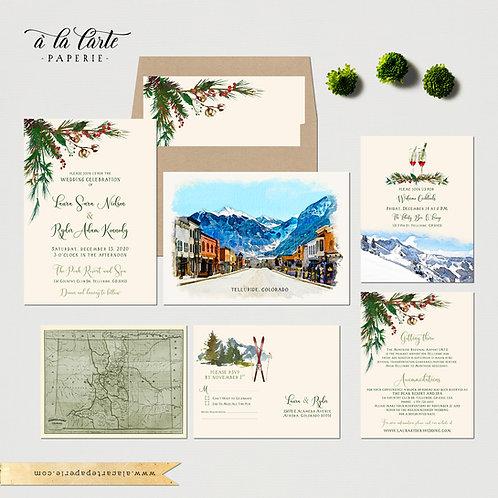 Telluride Colorado Rustic Winter Ski Illustrated Destination Wedding invitation