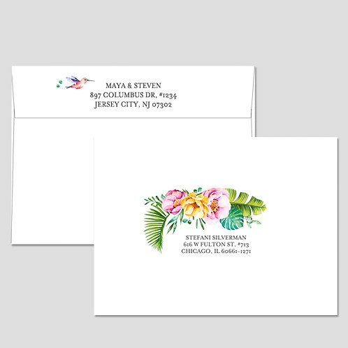 Guest and return address printing with full color illustrations