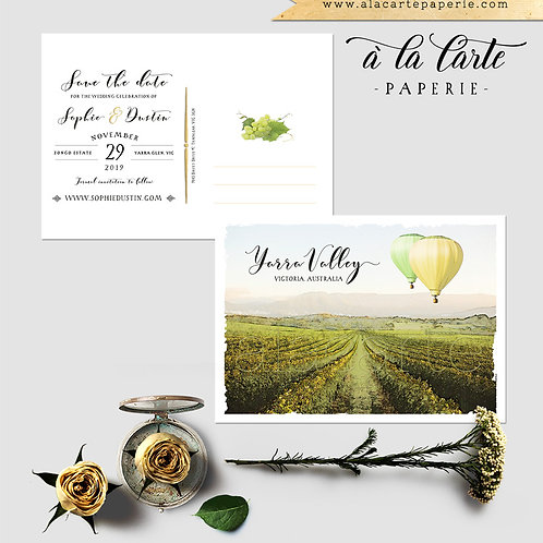 Australia Yarra Valley illustrated destination winery Save the Date postcard