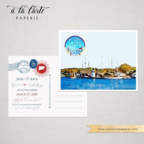 Mystic Connecticut CT USA Save the Date Watercolor Destination wedding invites