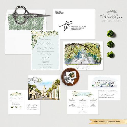 Savannah Georgia Spanish Moss Trolley Watercolor Illustrated Wedding Invitations