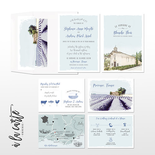 Provence South of France Illustrated Destination French Wedding Invitation Lilac