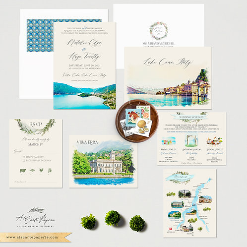 Lake Como Bellagio Italy Watercolor Illustrated Destination Wedding Invitations