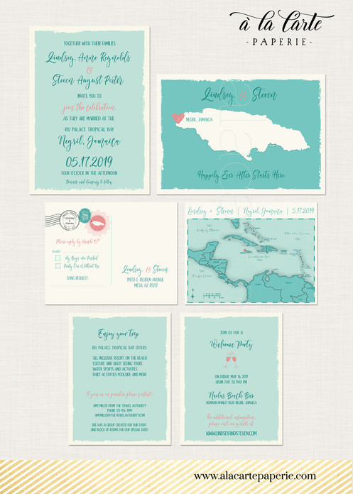 Jamaica Turquoise Map Beach Destination Wedding Invitation Set