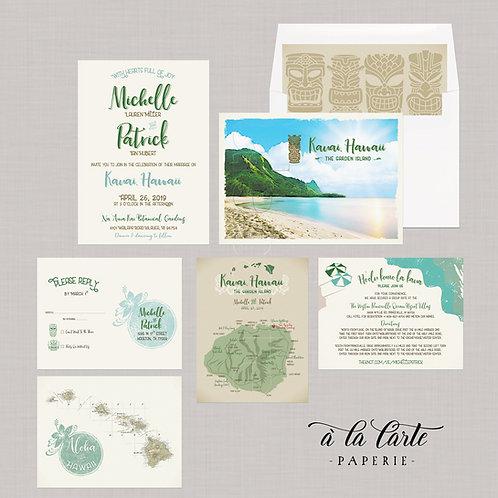 Hawaii Kauai Island Illustrated Destination Wedding Invitation map of Kauai Tiki