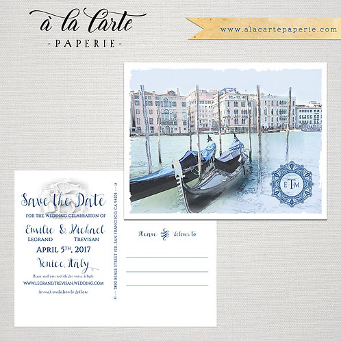 Venice Italy Illustrated Watercolor Wedding Save the Date Postcard