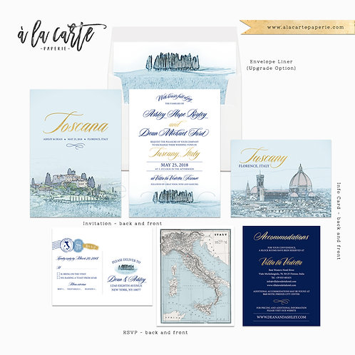 Tuscany Florence Italy Destination Wedding Invitation Blue Gold European wedding