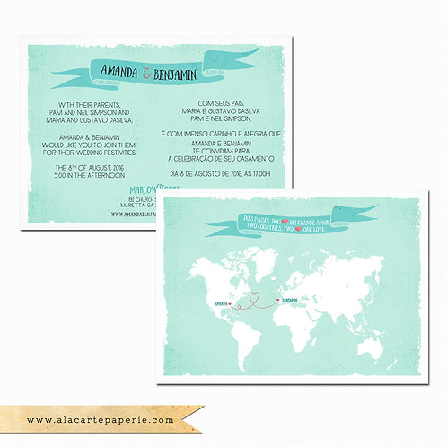 Bilingual Wedding Invitation with World map and banner in turquoise green colors