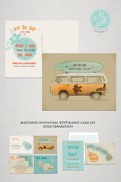 Hawaii Maui Beach Save the Date Postcard Illustrated Bus Destination wedding