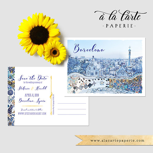 Barcelona Spain Illustrated Watercolor Wedding Save the Date Postcard