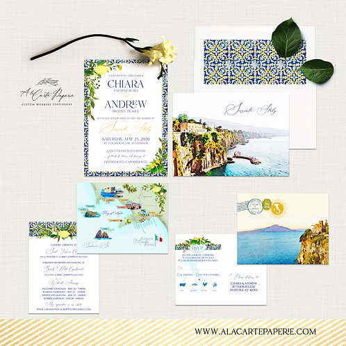 Sorrento Amalfi Coast Italy Lemon Illustrated Destination Wedding Invitation