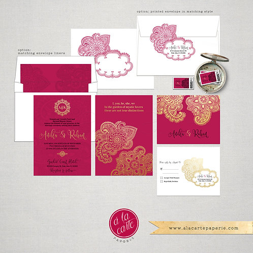 Indian Style Wedding Invitation in gold pink fuchsia orange red Indian Arabic