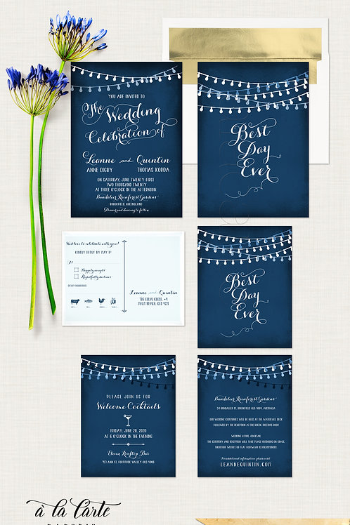 Best Day Ever String Light Navy Wedding Invitation navy blue lanterns