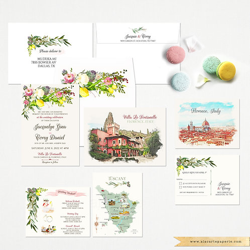 Florence Villa Le Fontanelle Italy watercolor illustrated wedding invitation set