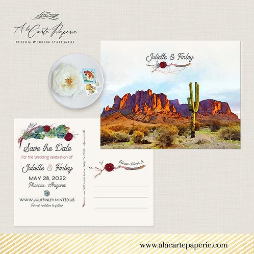 Phoenix Arizona USA Destination wedding invitation Save the Date postcard