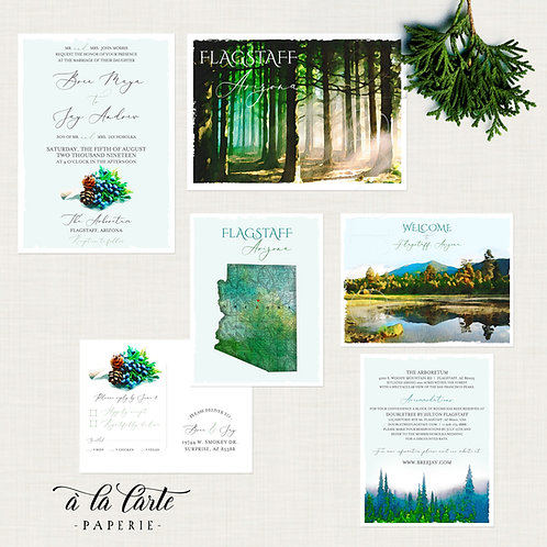 Arizona Flagstaff Rustic Woodland illustrated destination wedding invitation set