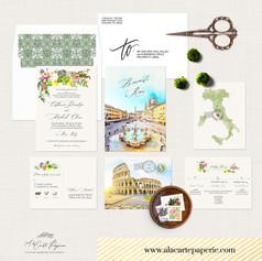 Rome Italy watercolor Destination wedding set