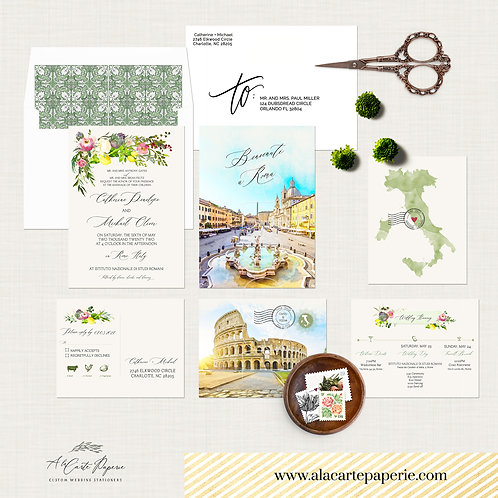 Rome Italy Watercolor Illustrated Destination Wedding Invitation Set Roma Italy