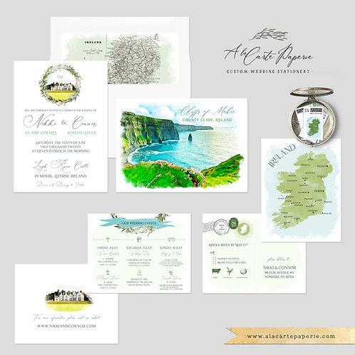 Ireland Dublin Cliffs of Moher Irish Illustrated Destination Wedding Invitation
