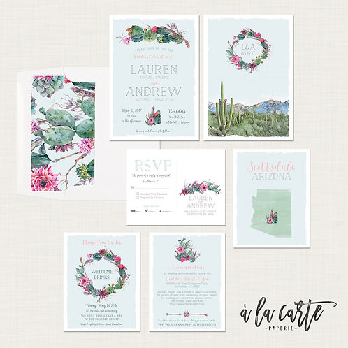 Arizona Scottsdale Phoenix Desert Destination wedding invitation Cactus Succulet