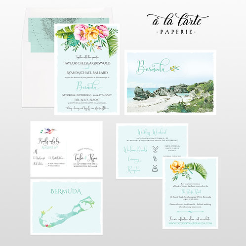 Bermuda Destination wedding illustrated invitation Tropical beach island floral