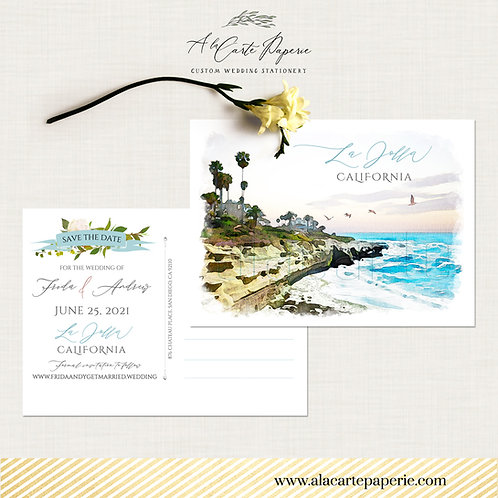 La Jolla California San Diego Save the Date Postcard Destination Wedding
