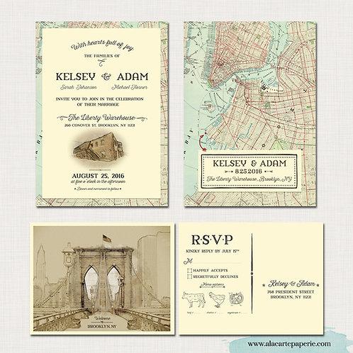 Brooklyn New York City NY Manhattan illustrated rustic urban wedding invitation