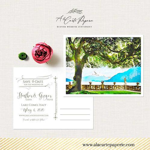 Lake Como Italy  Save the Date Watercolor Illustrated postcard Villa Balbianello